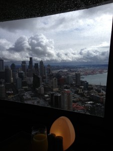 Brunch view from the Sky restaurant atop the infamous Space Needle